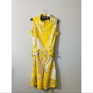 Anne Klein Vintage Yellow Print Dress
